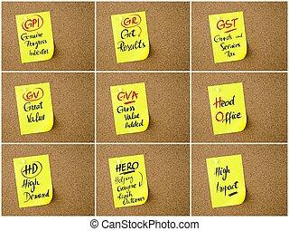 ビジネス, コラージュ, メモ, 書かれた, ペーパー, acronyms