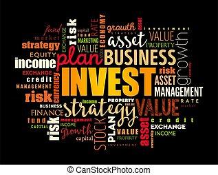 ビジネス, コラージュ, 単語, 概念, 雲, 投資しなさい
