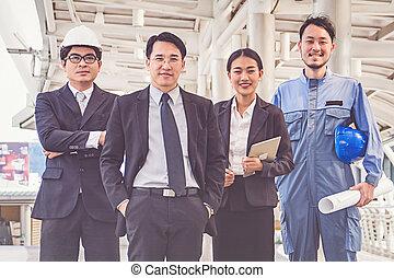 ビジネス, サイト, プロジェクト, マネージャー, 建設, ミーティング, エンジニア