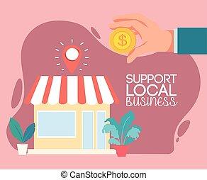 ビジネス, サポート, 都市, 支部
