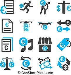 ビジネス, サービス, アイコン, 銀行業, 道具, ユーロ