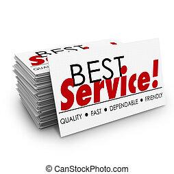 ビジネス, サービス, 速い, 信頼できる, カード, 品質, 味方, 最も良く