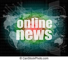 ビジネス, スクリーン, デジタル, 言葉, オンラインで, 感触, ニュース,  concept: