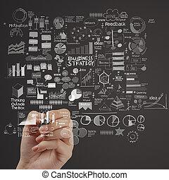 ビジネス, スクリーン, 手, コンピュータ, 感触, 作戦, 図画