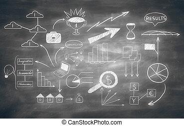 ビジネス, スケッチ, 黒板, 背景