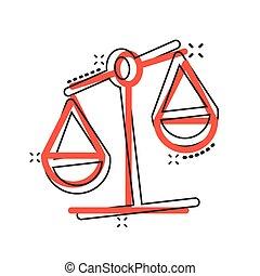ビジネス, スケール, 白, イラスト, style., 判断, バックグラウンド。, 漫画, 隔離された, 正義, ...