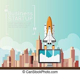 ビジネス, スペース, の上, シャトル, コンピュータ, 行きなさい, 始めなさい, から