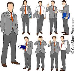 ビジネス, セット, グループ, 01, 男性