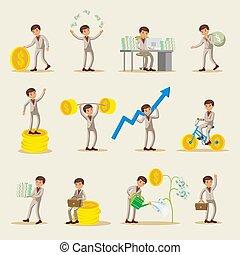 ビジネス, セット, 投資, 特徴