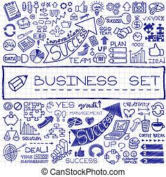 ビジネス, セット, icons., 手, 引かれる