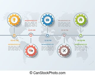 ビジネス, タイムライン, st., infographic, 5, ギヤ, テンプレート, はめば歯車