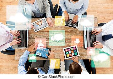 ビジネス, タブレット, ラップトップ・コンピュータ, pc, チーム