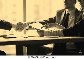ビジネス, タブレット, 使用, デジタル, ビジネスマン, ミーティング
