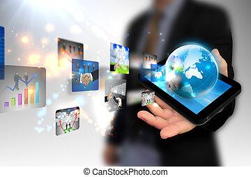 ビジネス, タブレット, 手, pc, 保有物, 世界
