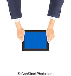 ビジネス, タブレット, 手, pc, 保有物, 人