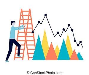 ビジネス, チャート, レポート, 上昇, 階段, 人