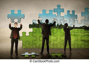 ビジネス, チームワーク, 集まっていること, パズル小片, 作成しなさい, 緑, environtment