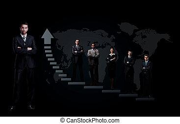 ビジネス チーム, ある, 地位, 上に, a, グラフ