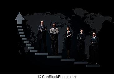 ビジネス チーム, ある, 地位, 上に, a, graph.