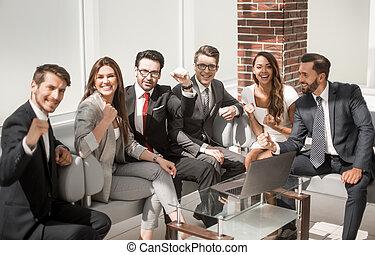 ビジネス チーム, モデル, 中に, オフィス, 待っている 部屋