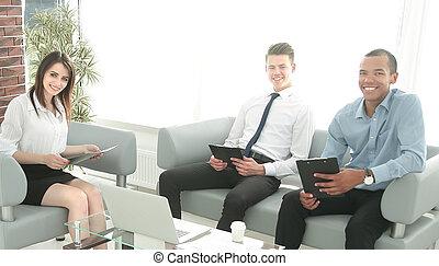 ビジネス チーム, 仕事, ∥で∥, 文書, モデル, 中に, オフィス