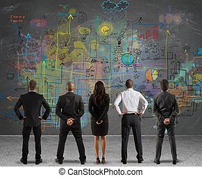ビジネス チーム, 図画, a, 新しい, プロジェクト