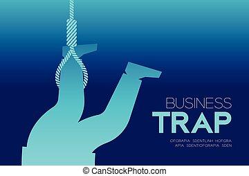 ビジネス, テキスト, デザイン, トラップ, 背景, セット, 隔離された, 横, lasso, コピー, 捕えられた, 考え, イラスト, 概念, スペース, 勾配, ビジネスマン, 青