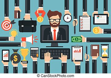 ビジネス, デザイン, オンラインで, 平ら, 訓練