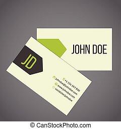 ビジネス, デザイン, リボン, 矢, 緑, カード
