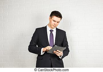 ビジネス, デジタルタブレット, 働いている人達