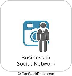 ビジネス, ネットワーク, icon., 社会, 平ら, design.