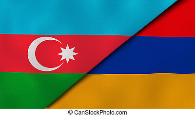 ビジネス, バックグラウンド。, ニュース, reportage, armenia., アゼルバイジャン, 旗, イラスト, 3d