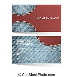 ビジネス, パターン, デニム, 創造的, simle, テンプレート, 横, ジッパー, カード