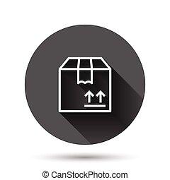 ビジネス, パッケージ, 長い箱, アイコン, 出荷, style., ボタン, 平ら, 黒, イラスト, 容器, ベクトル, 円, effect., 背景, 影, ラウンド, concept., ボール紙