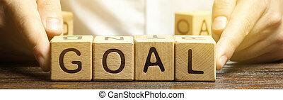 ビジネス, ビジネスマン, target., 木製である, 概念, 計画, goals., 手を伸ばす, goal., 達成, plan., 投げ, 単語, perseverance., 実行, ブロック, heights., 新しい, purposefulness.