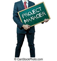 ビジネス, プロジェクト, マネージャー, 背景, 板, 保有物, 人