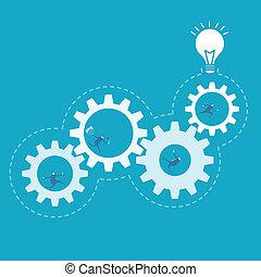ビジネス, プロセス, ギヤ, 改善, 回転, 人