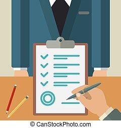 ビジネス, ベクトル, 合意, 平ら, illustration., 概念
