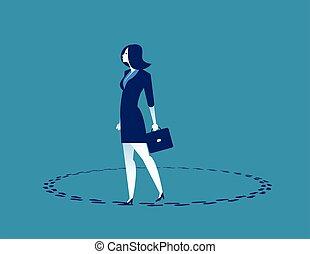 ビジネス, ベクトル, 歩くこと, 女性実業家, 概念, circle., illustration.