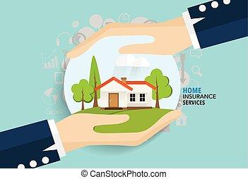 ビジネス, ベクトル, insurance., 家の 保険, service., イラスト, 概念