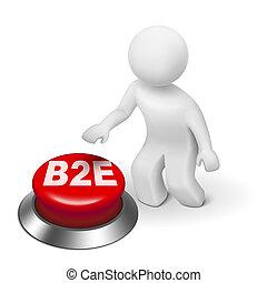 ビジネス, ボタン, 従業員, b2e, 3d, 人