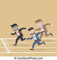 ビジネス, マラソン, 競争, 人