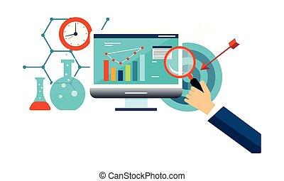 ビジネス, マーケティング, 分析, イラスト, ベクトル, インターネット, 管理