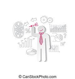 ビジネス, マーケティング, concept., ペーパー, さっと動く, graphics., 人