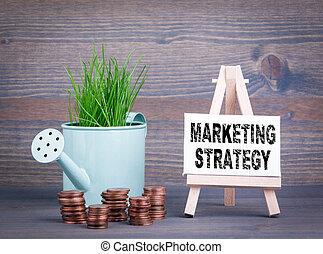 ビジネス, マーケティング, concept., 水まき, 作戦, ミニチュア, 緑, 春, 小さい, 新たに, 草, ポット, 変化しなさい