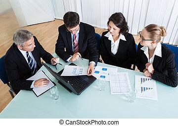 ビジネス, ミーティング, 統計上である, 分析