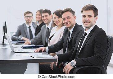 ビジネス, モデル, チーム, プロジェクト, マネージャー, 机, 専門家
