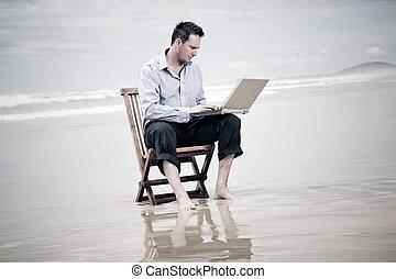 ビジネス, モデル, ラップトップ, 椅子, 浜, 人