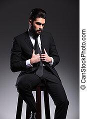 ビジネス, モデル, 人, 固定, 彼の, ジャケット, 優雅である, 間