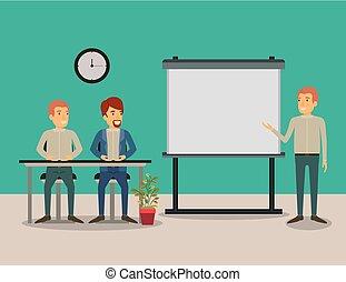 ビジネス, モデル, 色, 恋人, 経営者, 人々, 背景, 机, presentacion, 人